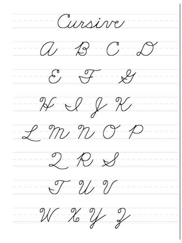 cursive writing abc Title: free cursive writing guide - printable worksheet author: k5 learning subject: cursive writing worksheets / handwriting practice / penmanship letters, words.